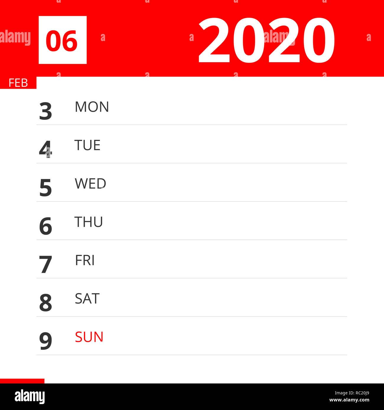 February 9 2020 Calendar Calendar planner for Week 06 in 2020, ends February 9, 2020 Stock