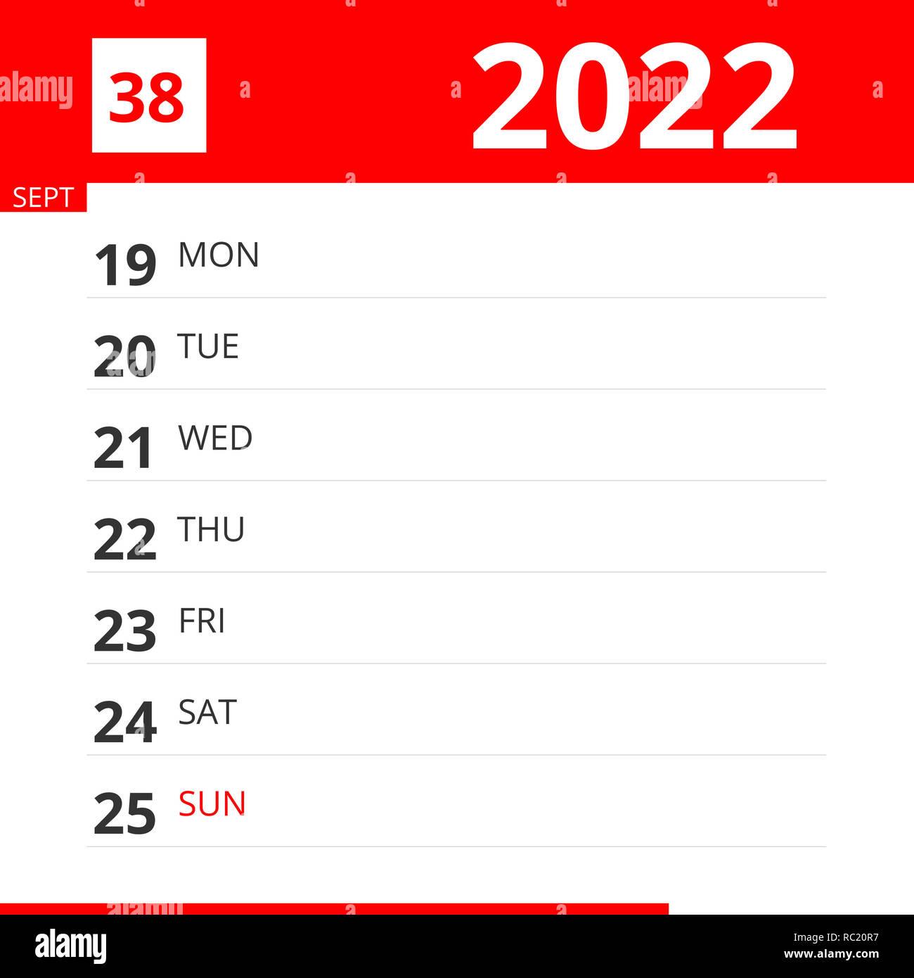 2022 Sept Calendar.Calendar Planner For Week 38 In 2022 Ends September 25 2022 Stock Photo Alamy
