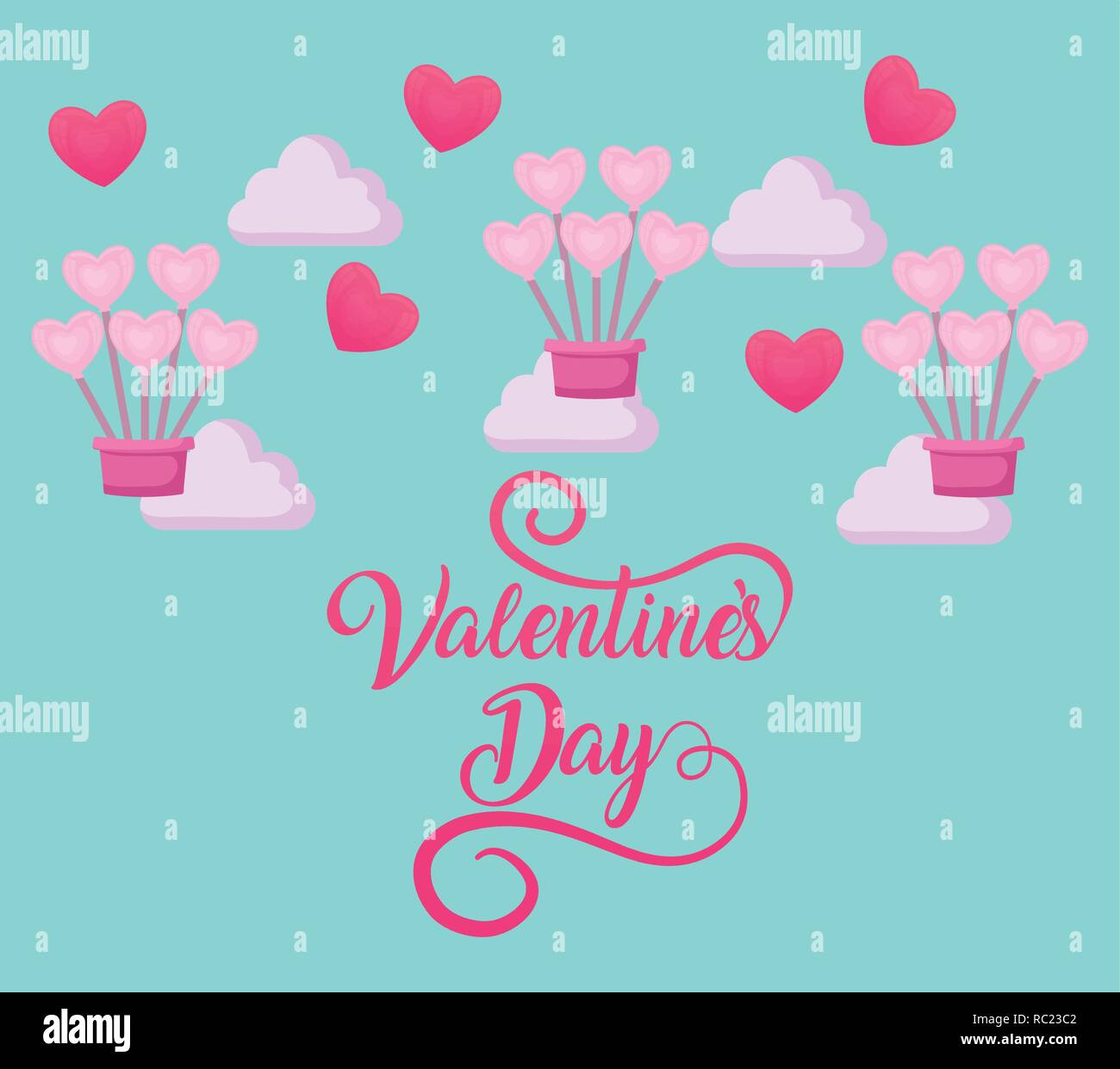 valentines day card with balloons air hot vector illustration design - Stock Vector