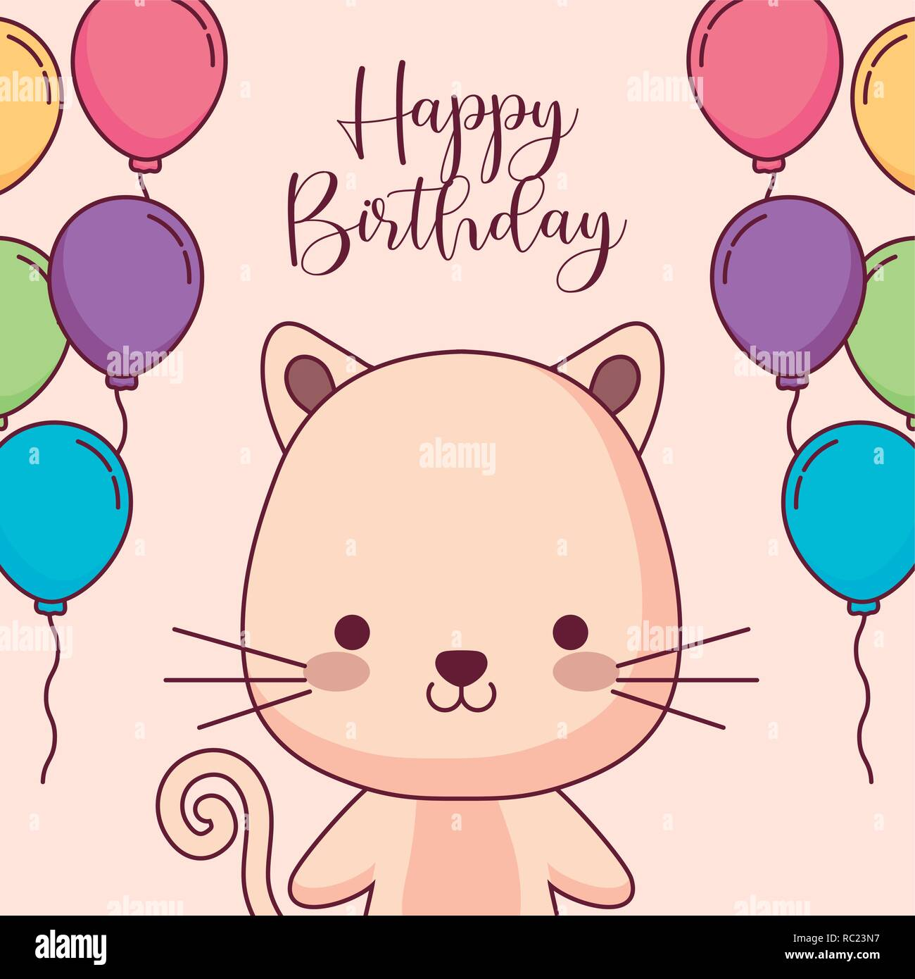 Cute Cat Happy Birthday Card With Balloons Helium Vector Illustration Design