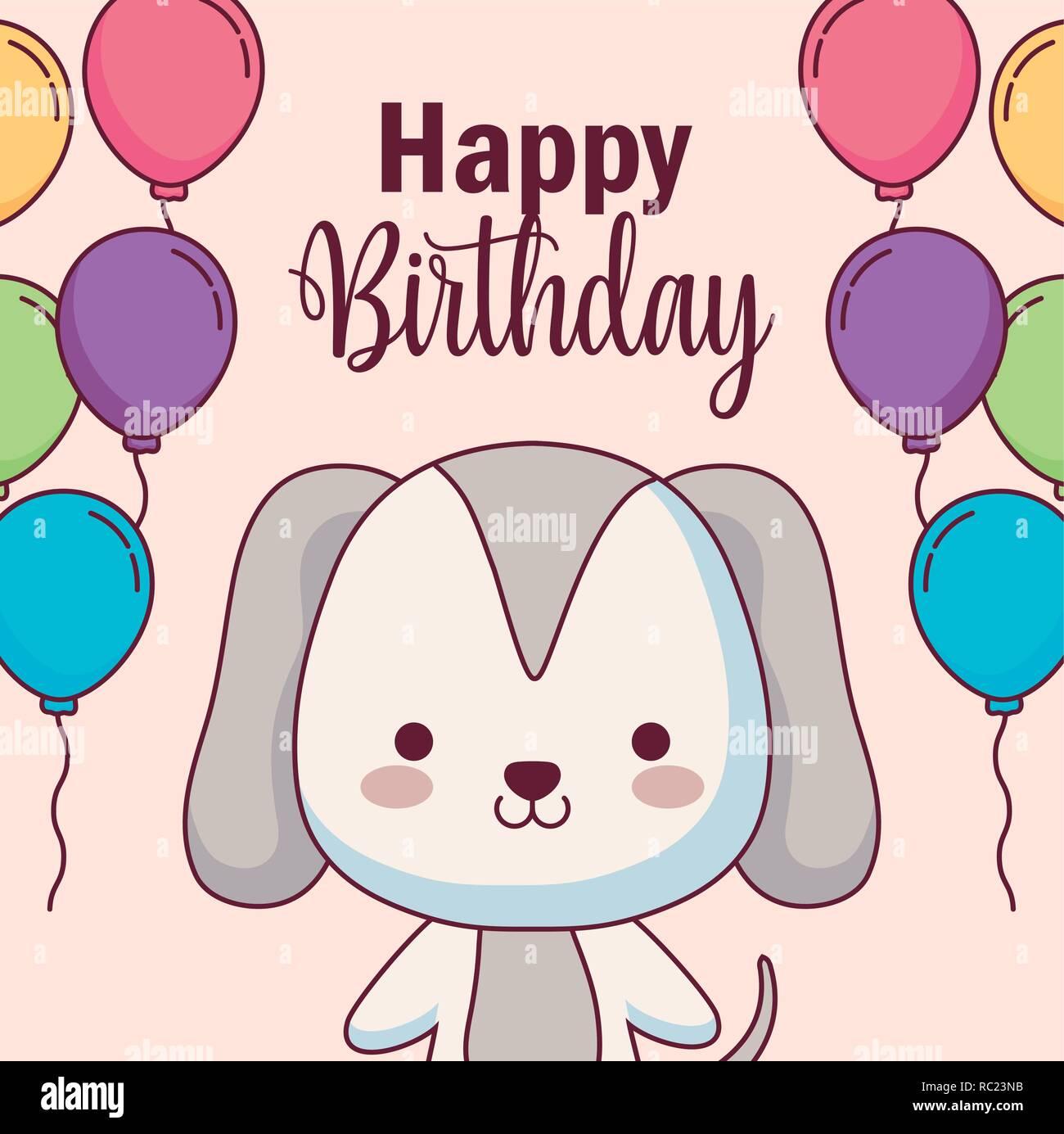 Cute Dog Happy Birthday Card With Balloons Helium Vector Illustration Design Stock Vector Image Art Alamy