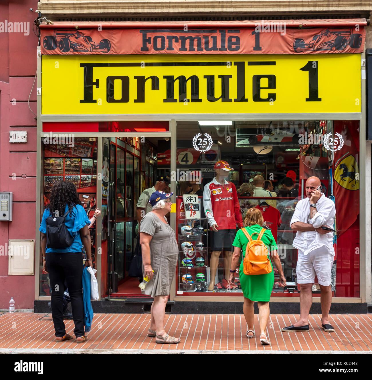 MONTE CARLO, MONACO:  Formula 1 Shop (Formule 1) on Rue Grimaldi - Stock Image