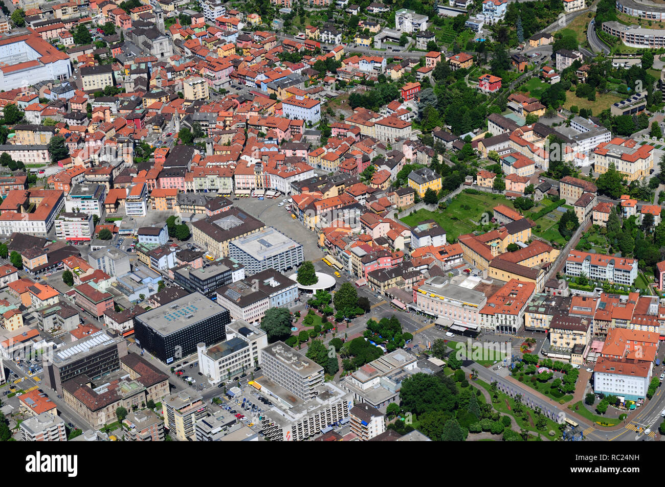 South Switzerland: Airshot from Locarno center, where the Film Festival takes place - Stock Image