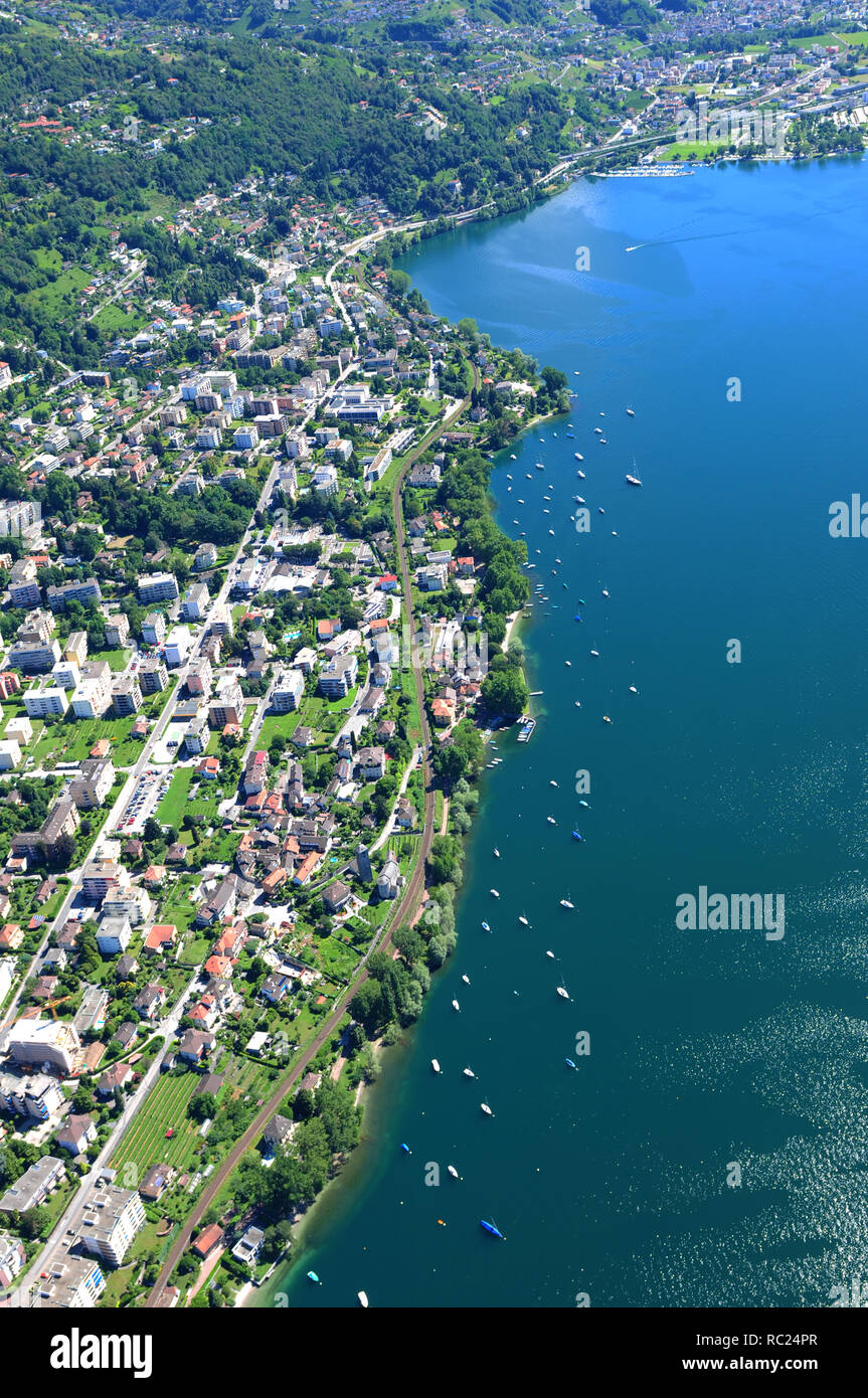 Airshot from Minusio and Tenero at Lago Maggiore in Switzerland - Stock Image
