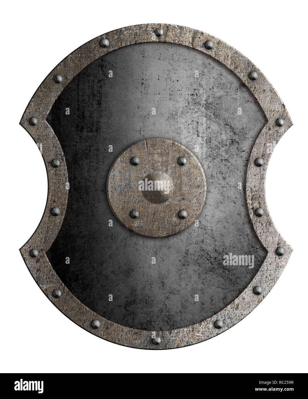 Large metal shield isolated 3d illustration - Stock Image