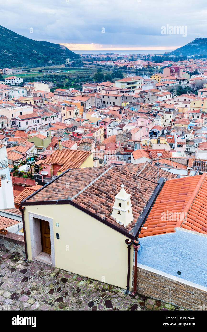 Aerial view from the castle of Bosa, a colofrull small village  in Sardinia, Italy Stock Photo