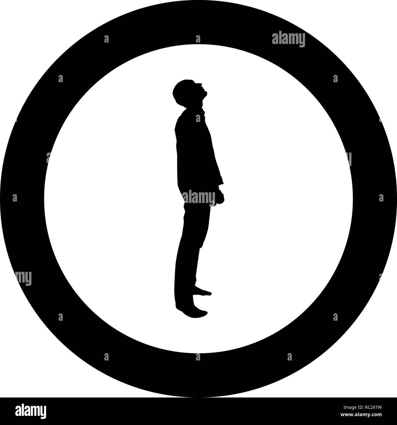 Man looks up silhouette icon black color vector I flat style simple imagein circle round - Stock Vector