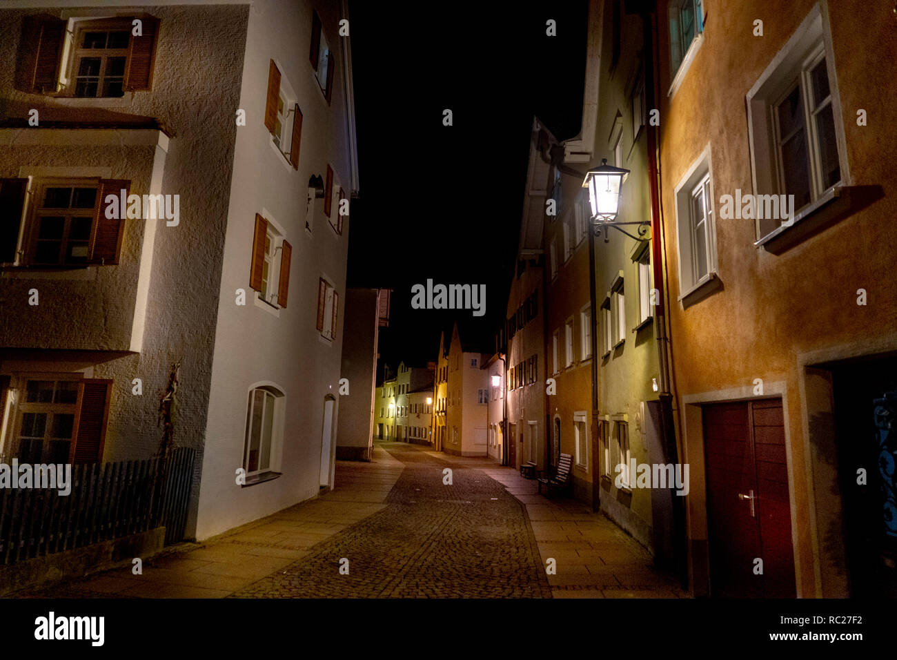 Christmas Town In Germany.Fussen Germany Bavarian Medieval Town At Night In Christmas