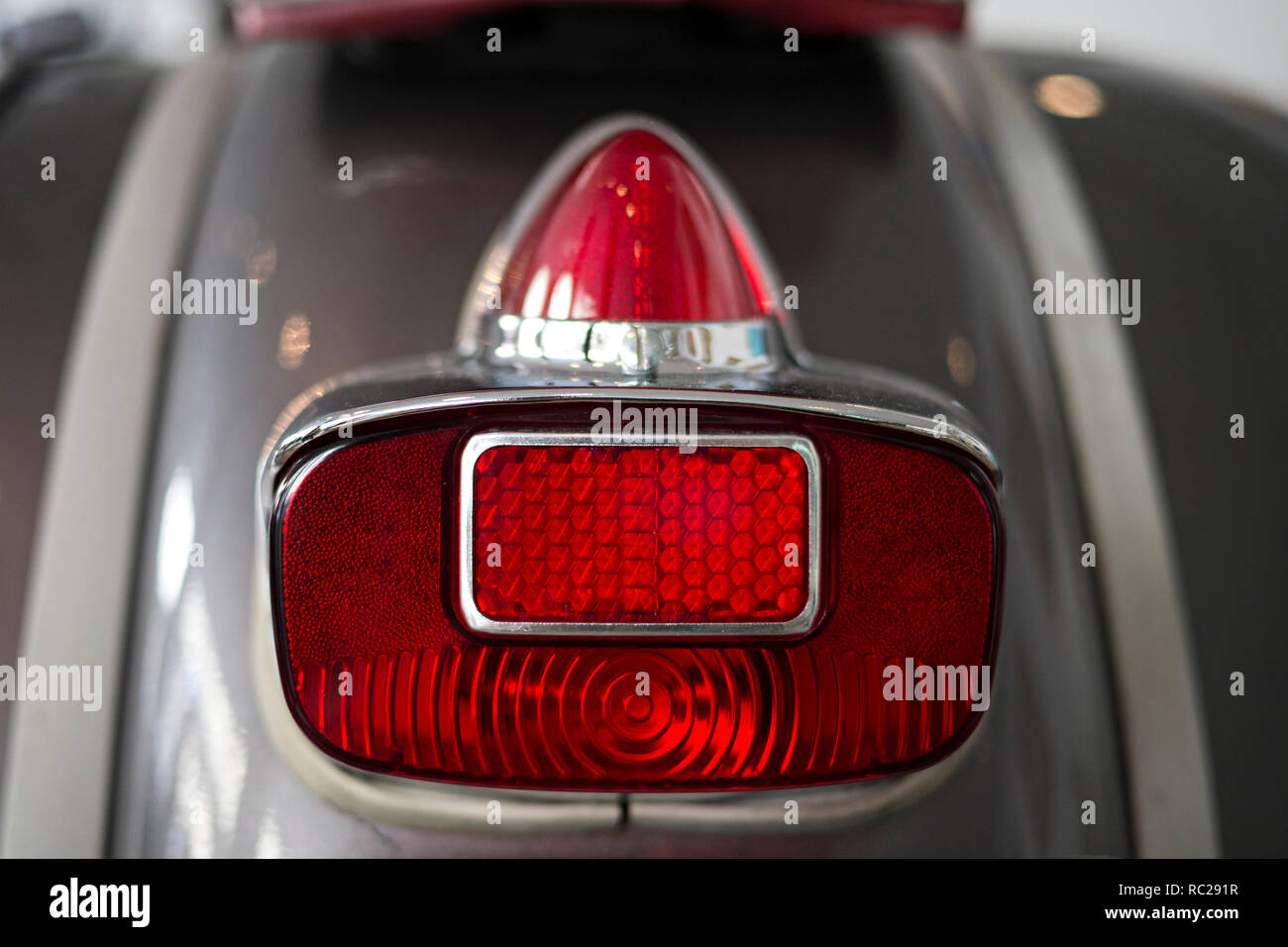 Stoplight and on a modern motorcycle - Stock Image