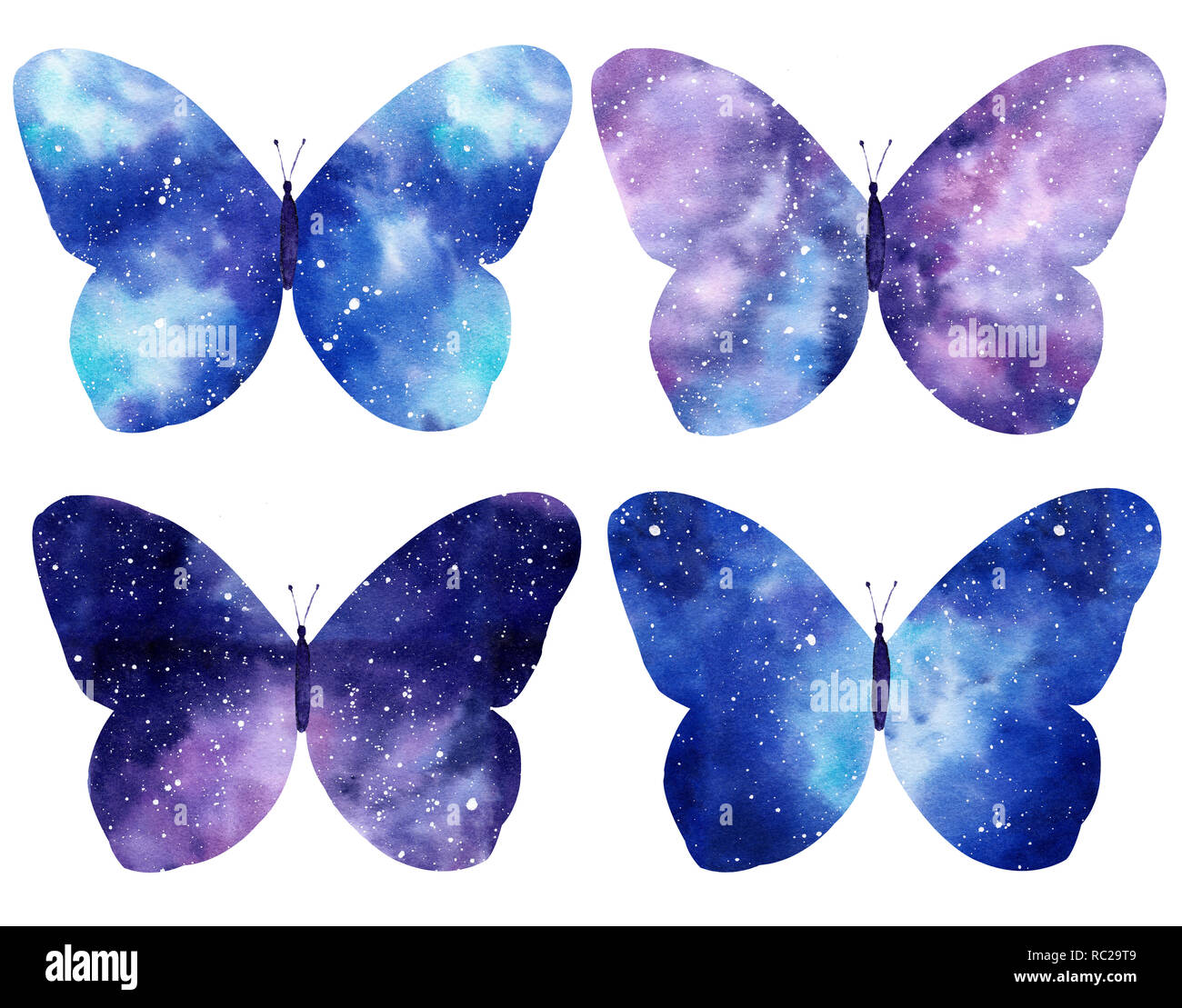 Set of Watercolor galaxy butterflies isolated on the white background. Hand painted watercolor illustration perfect for Valentine's day invitation or  - Stock Image