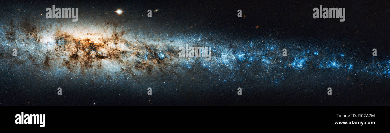 The beauty of the universe: Huge and detailed panorama of the Whale Galaxy - Elements of this image furnished by NASA/Hubble Space Telescope/ESA - Stock Image