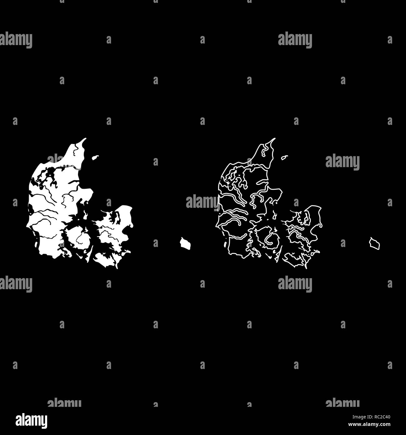 Map of Denmark icon set white color I flat outline style simple image Stock Vector