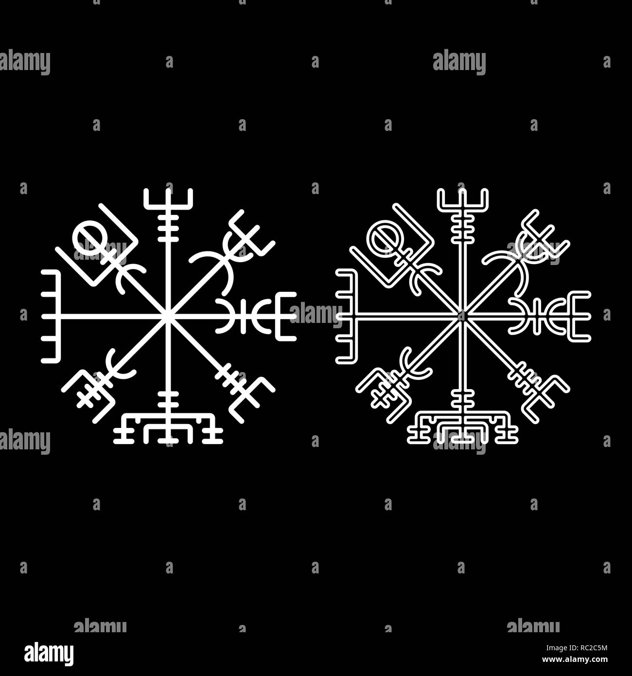 Vegvisir runic compass galdrastav Navigation compass symbol icon set white color I flat outline style simple image - Stock Image