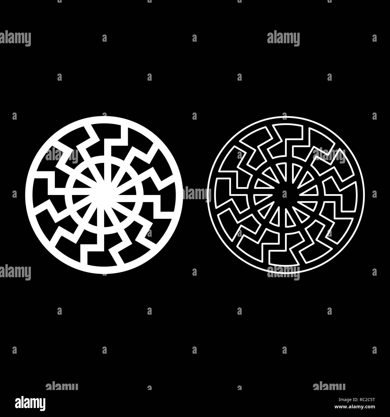 set white sun symbol icon set white color I flat outline style simple image - Stock Image