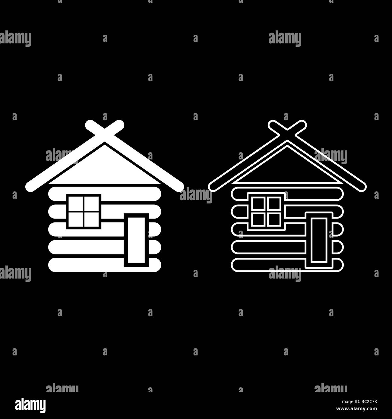 Wooden house Barn with wood Modular log cabins Wood cabin modular homes icon set white color I flat outline style simple image - Stock Vector