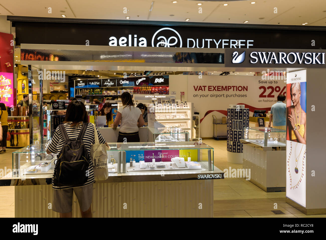 Duty free shop at Rome Fiumicino airport - Stock Image