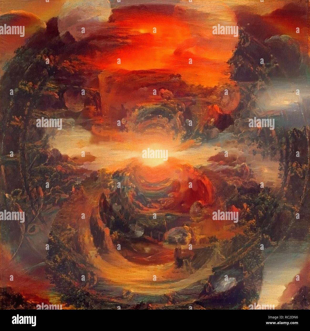 Abstract painting. Sunblast Armageddon - Stock Image