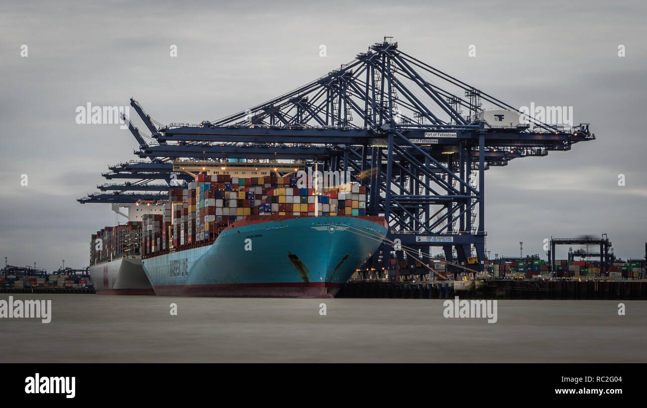 The container ship, Evelyn Maersk at the Port of Felixstowe in Suffolk - Stock Image