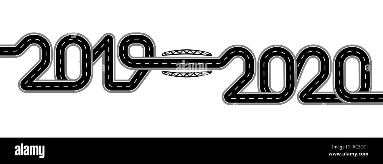 2019-2020. Symbolizes the transition to the New Year. The road with markings is stylized as an inscription. Isolated illustration - Stock Image