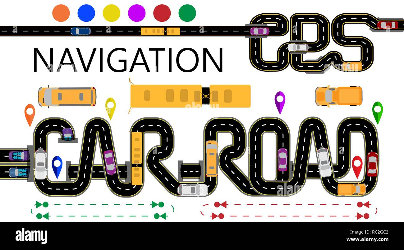 Roads, cars, navigator tags  The highway is stylized under