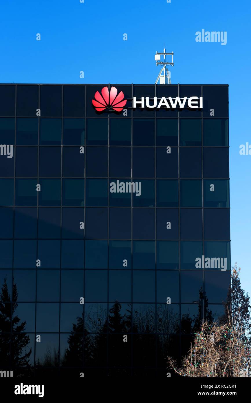 Kanata, Canada - January 12, 2019: The Ottawa Research & Development Centre of the Chinese multinational telecommunications equipment and consumer ele - Stock Image
