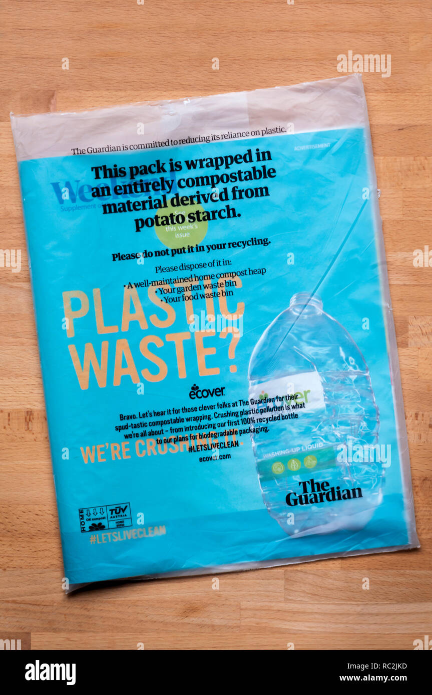 Compostable bag for Guardian magazine  Made from