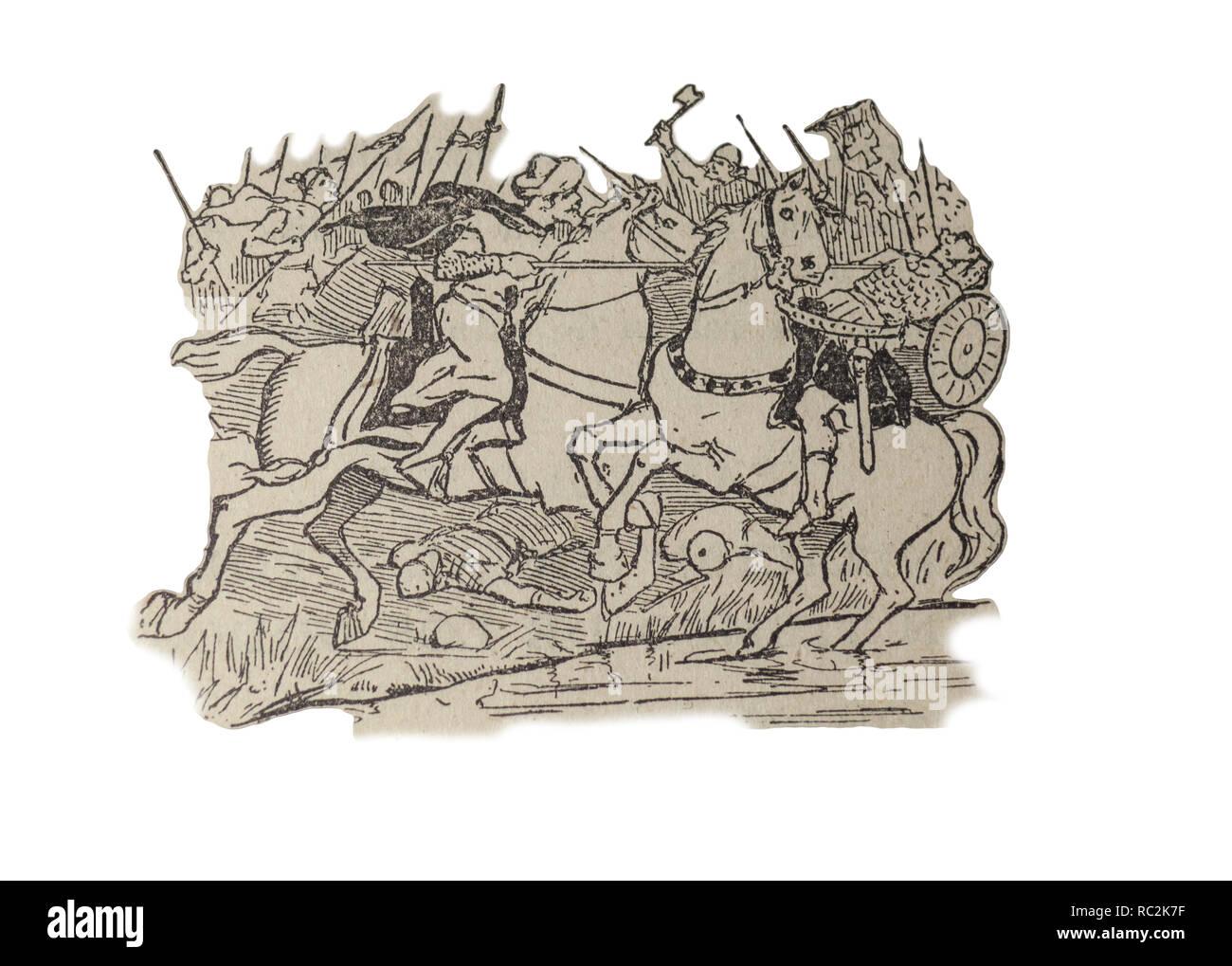 Badajoz, Spain - Jan 7th, 2019:  Battle of Guadalete in 711 between Visigoths of Hispania and Muslim Umayyad Caliphate. Draw from book Enciclopedia Au - Stock Image