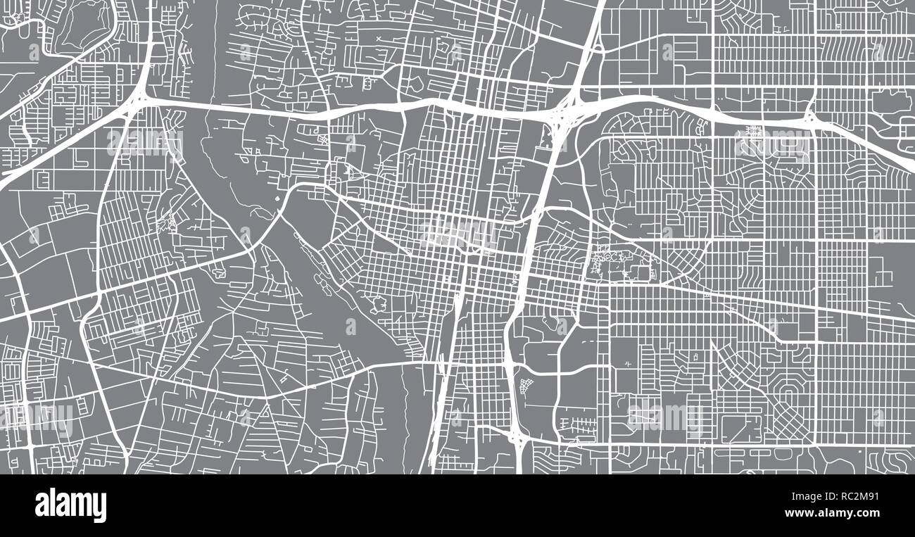 Urban vector city map of Albuquerque, New Mexico, United States of on