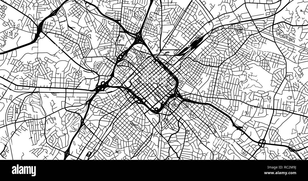 Urban Vector City Map Of Charlotte North Carolina United States Of