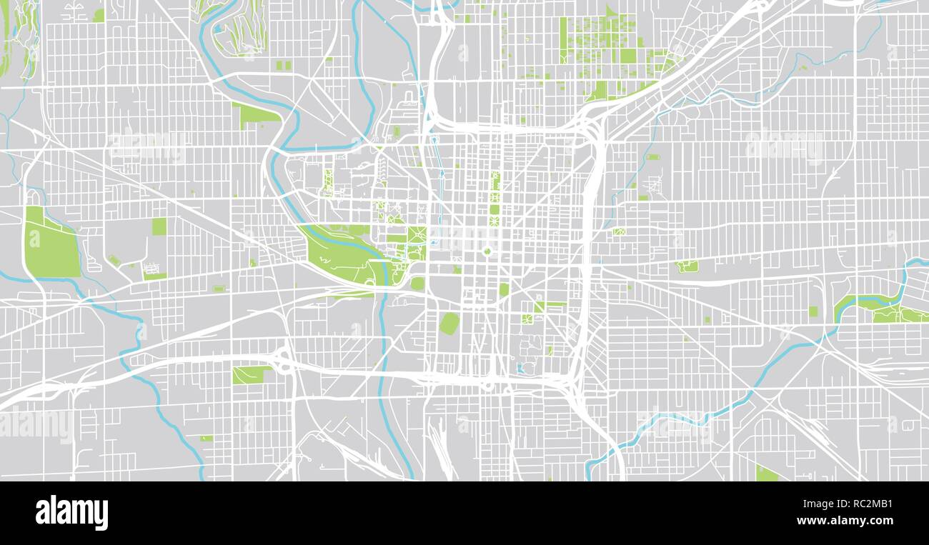 Urban Vector City Map Of Indianapolisindiana United States Of - Indianapolis-in-us-map