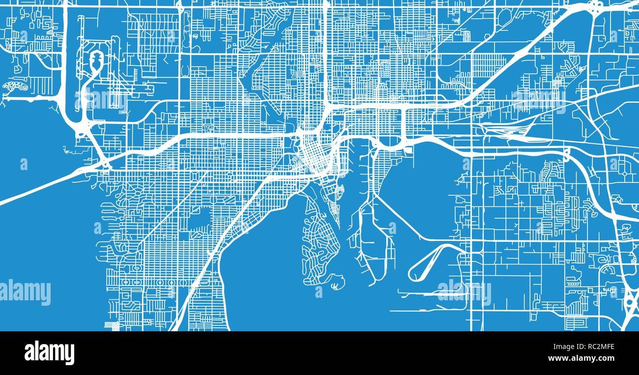 Tampa Florida Map State.Urban Vector City Map Of Tampa Florida United States Of America