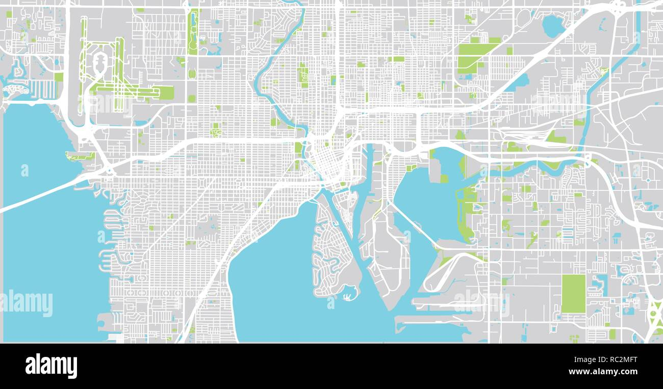Urban vector city map of Tampa, Florida, United States of ...