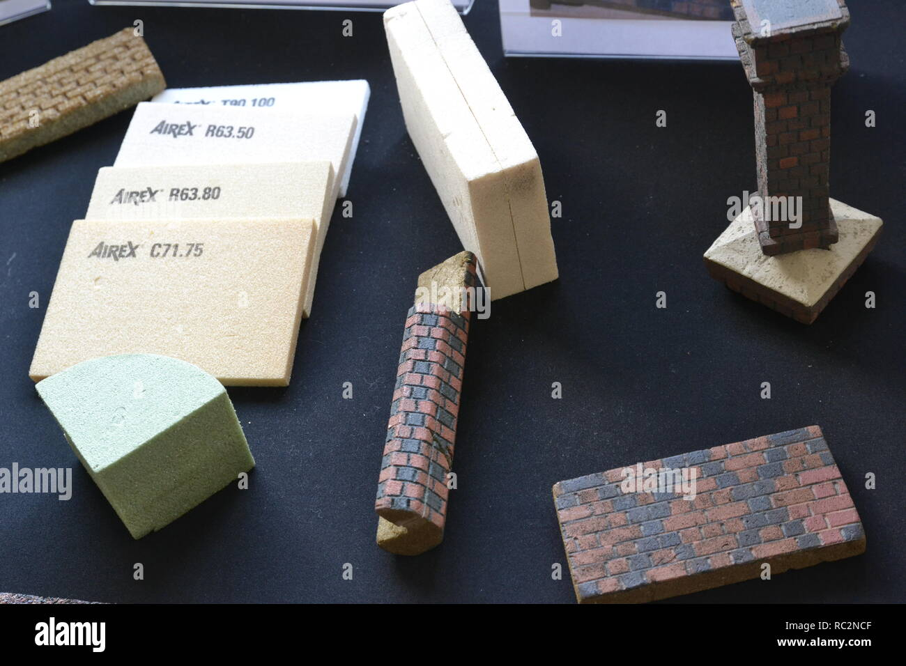 Modelling materials on display at Beaconscot Model Village, Beaconsfield, Buckinghamshire, UK - Stock Image