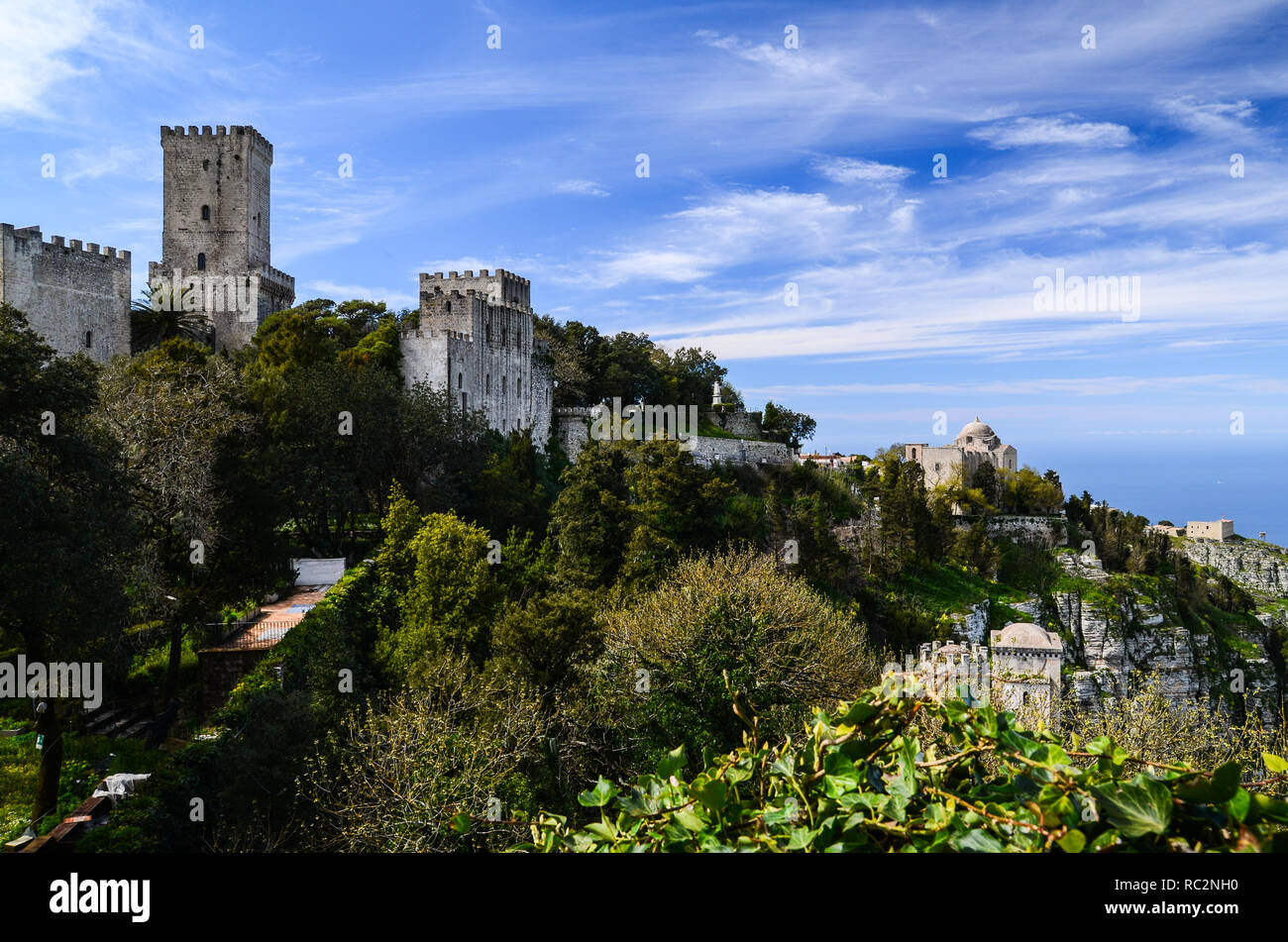 Panoramic view of the Medieval town of Erice with its castle situated on top of a mountain near Trapani, Sicily, Italy. Stock Photo