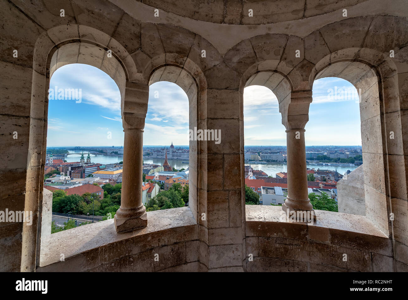 Cityscape of Budapest, Hungary as seen from Fishermans Bastion with the Hungarian Parliament in the background - Stock Image
