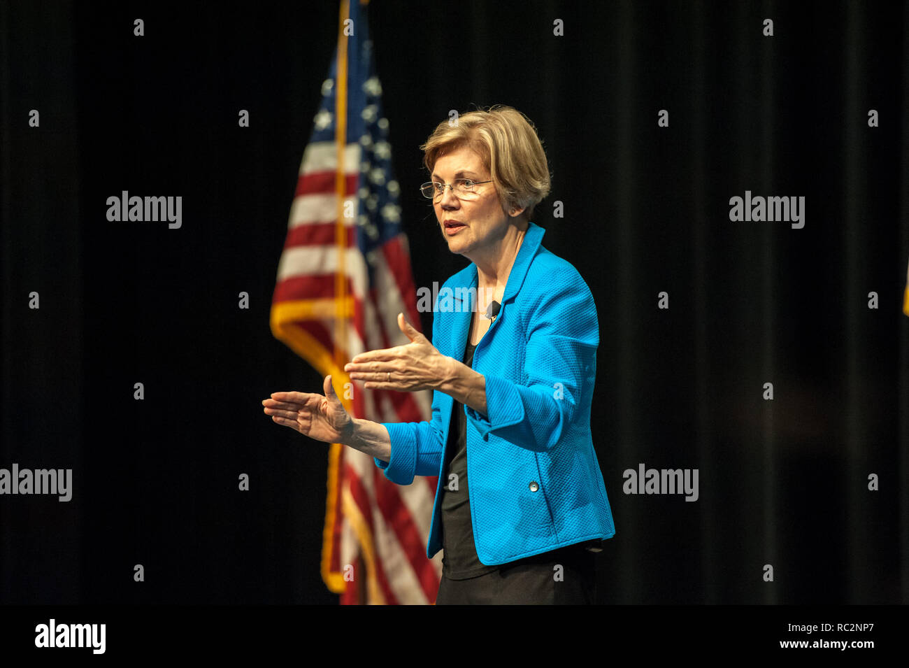U.S. Senator Elizabeth Warren speaking on stage at her Town Hall at Concord-Carlisle Highschool in Massachusetts. - Stock Image