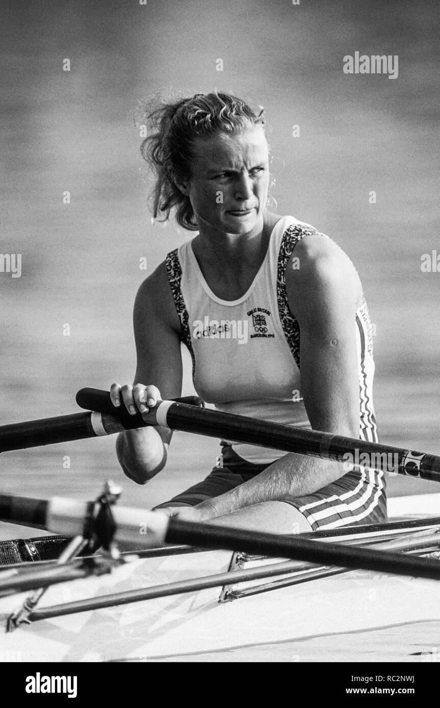 Barcelona, SPAIN.   GBR W2X. Bow, Annabel EYRES, 1992 Olympic Rowing Regatta Lake Banyoles, Catalonia [Mandatory Credit Peter Spurrier/ Intersport Images] Stock Photo