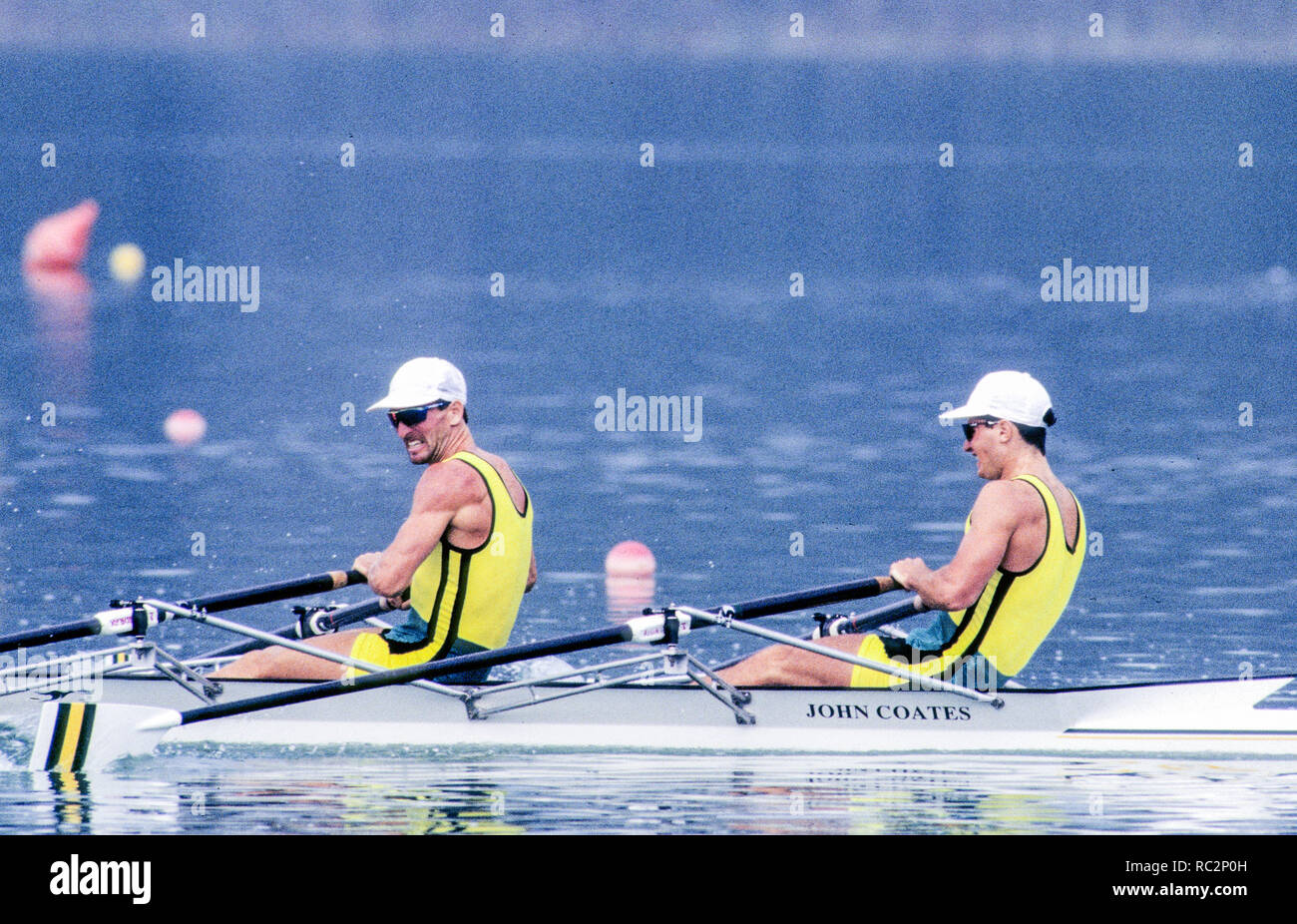 Barcelona Olympics 1992 - Lake Banyoles, SPAIN, AUS M2X  stroke, ANTONIE Peter, HAWKINS Stephen Mark,  Photo: Peter Spurrier Stock Photo