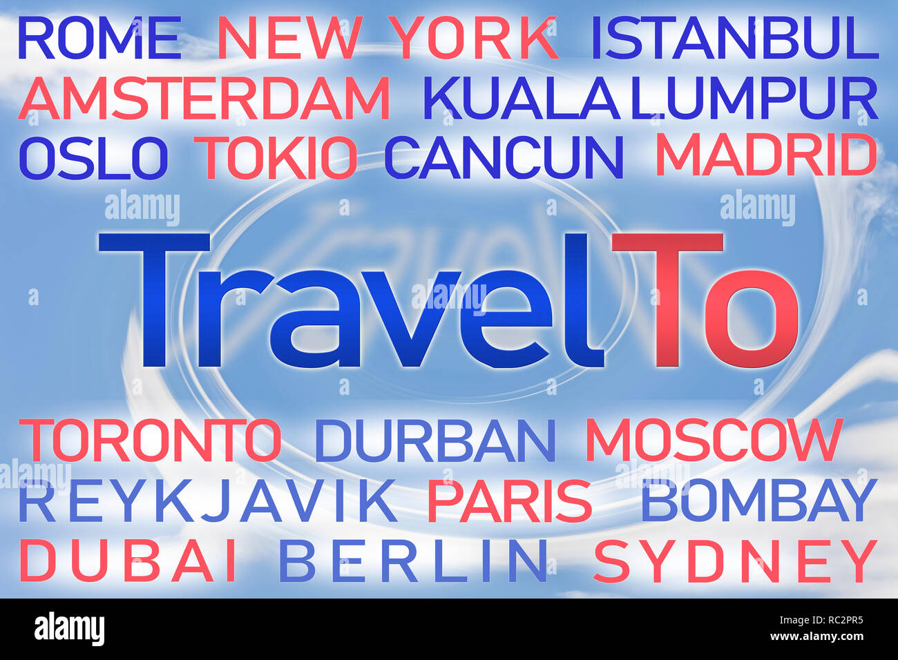 Travel To word cloud with blue background. - Stock Image