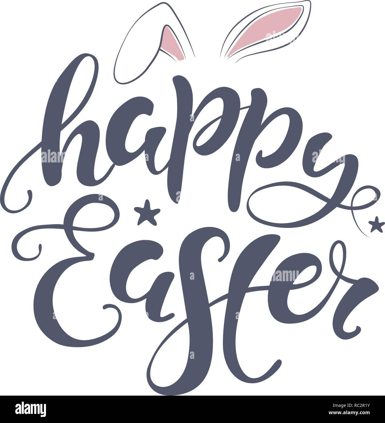 image relating to Happy Easter Printable identified as Vector Delighted Easter bunny lettering card. estimate in direction of style and design