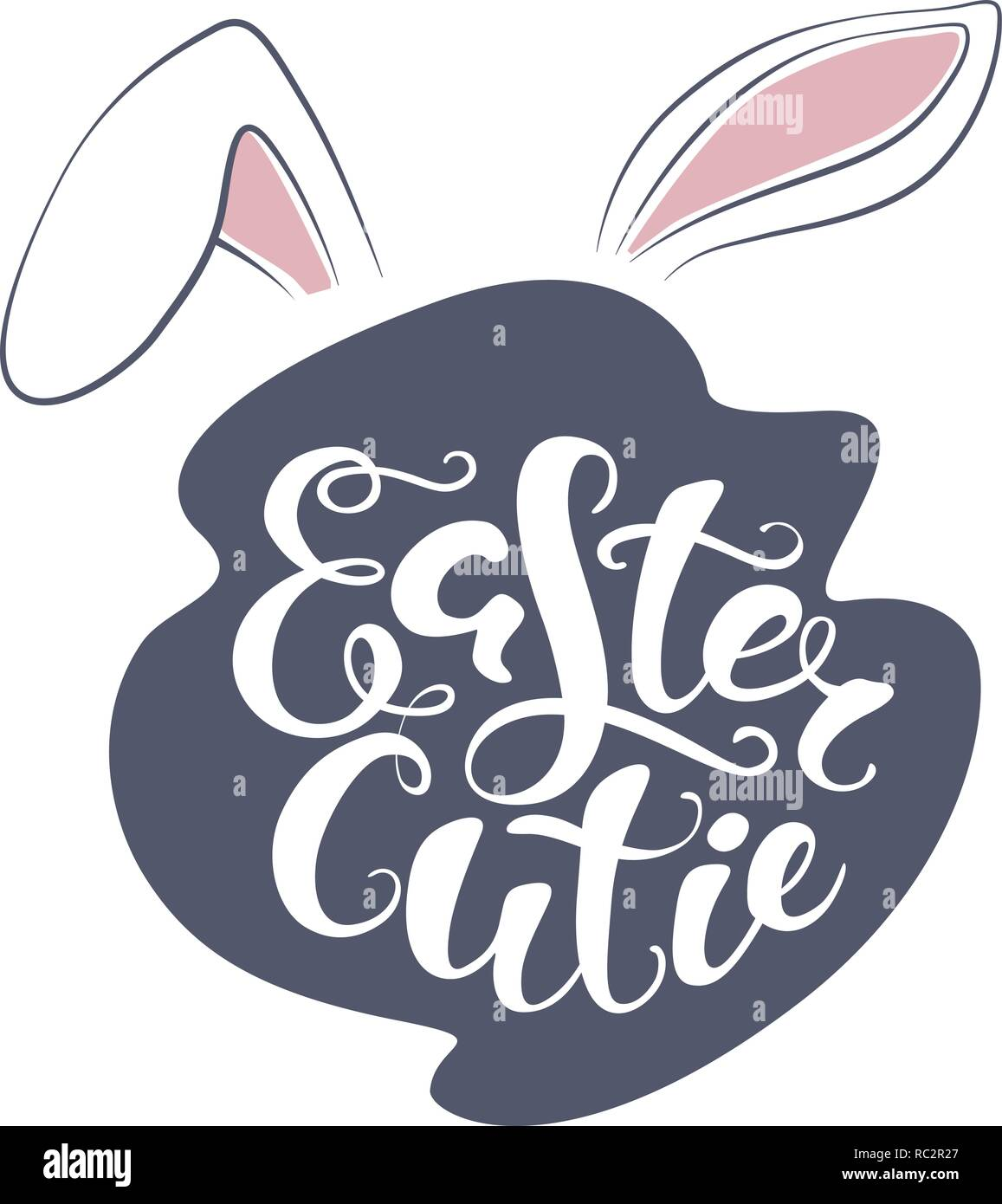 T Stock Quote: Vector Happy Easter Bunny Lettering Card. Quote To Design