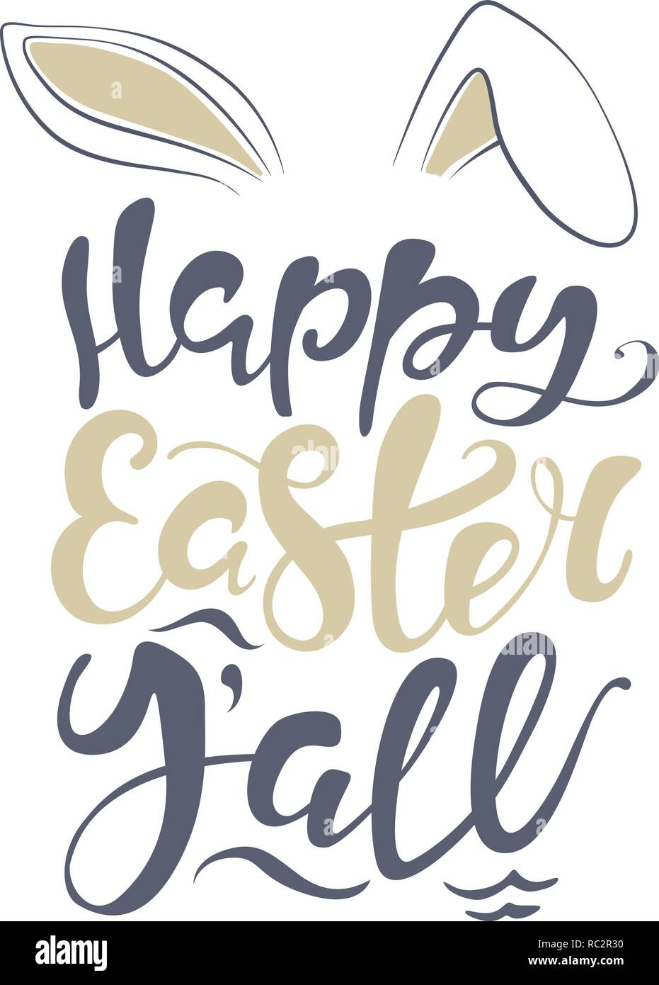 photograph about Happy Easter Sign Printable called Vector Joyful Easter bunny lettering card. estimate towards style