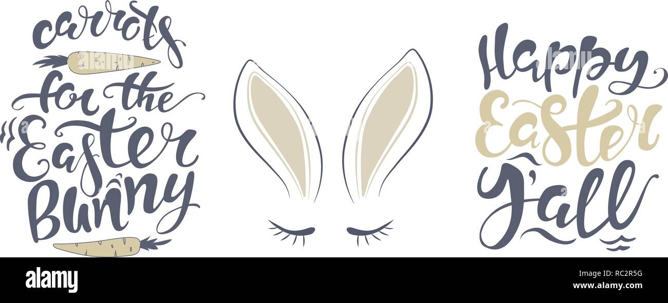 graphic about Easter Banner Printable identify Vector Pleased Easter bunny lettering card. estimate in direction of style and design