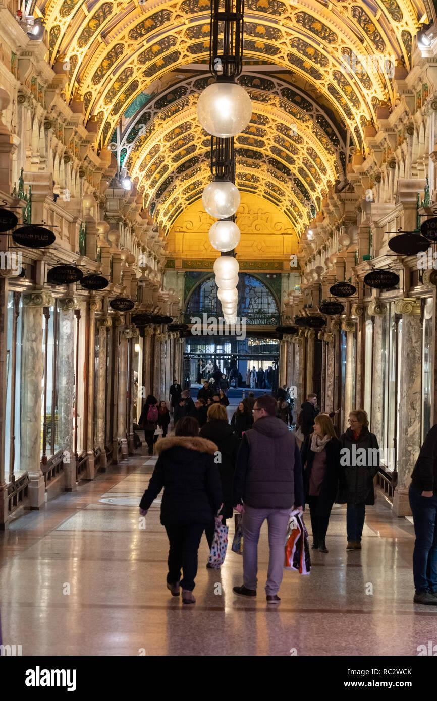 Illuminated arched roof at Thornton's Arcade,Leeds,West Yorkshire,England,UK. - Stock Image