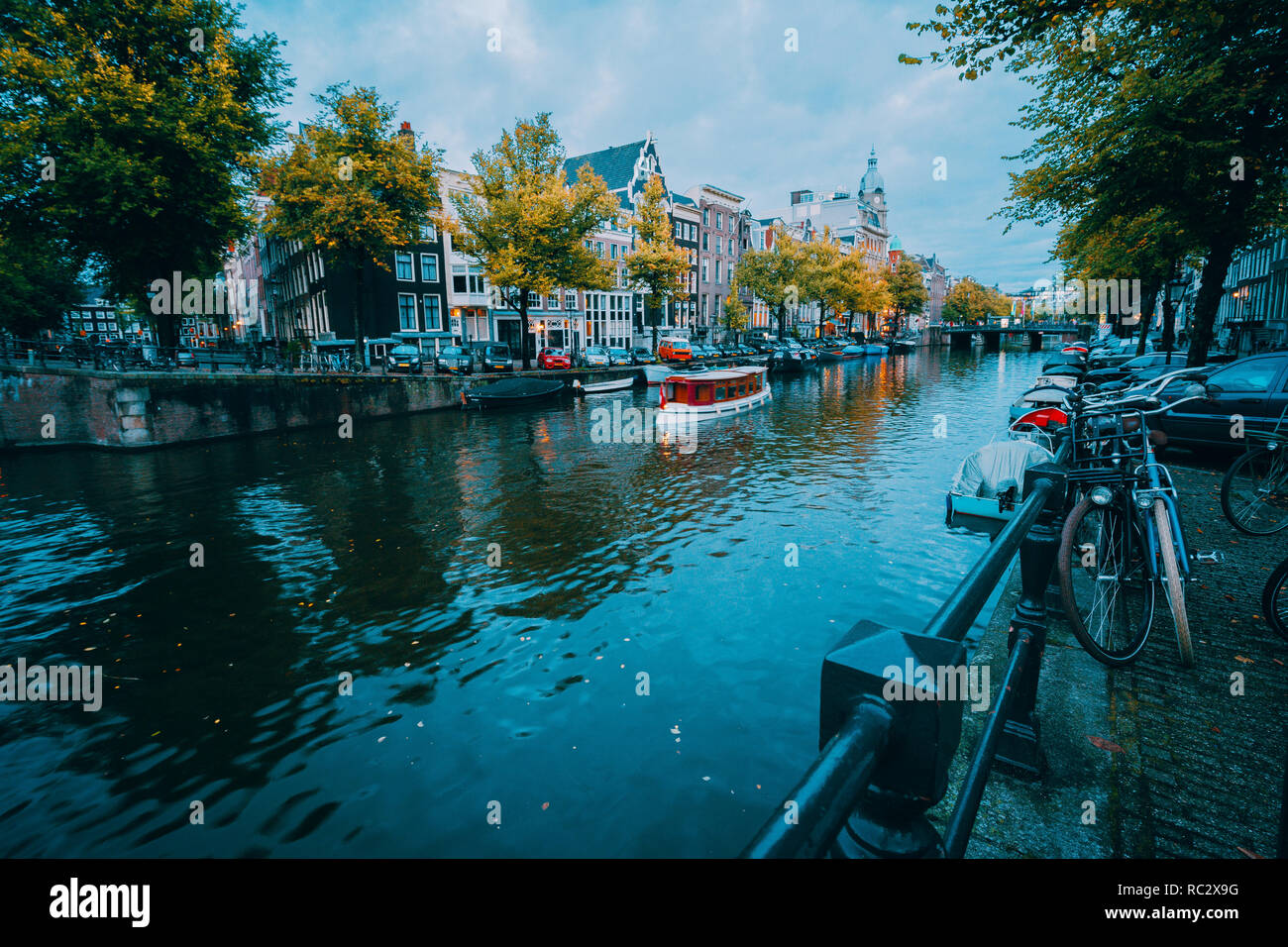 Amsterdam cityscape before the blue hour, Holland, The Netherlands - Stock Image