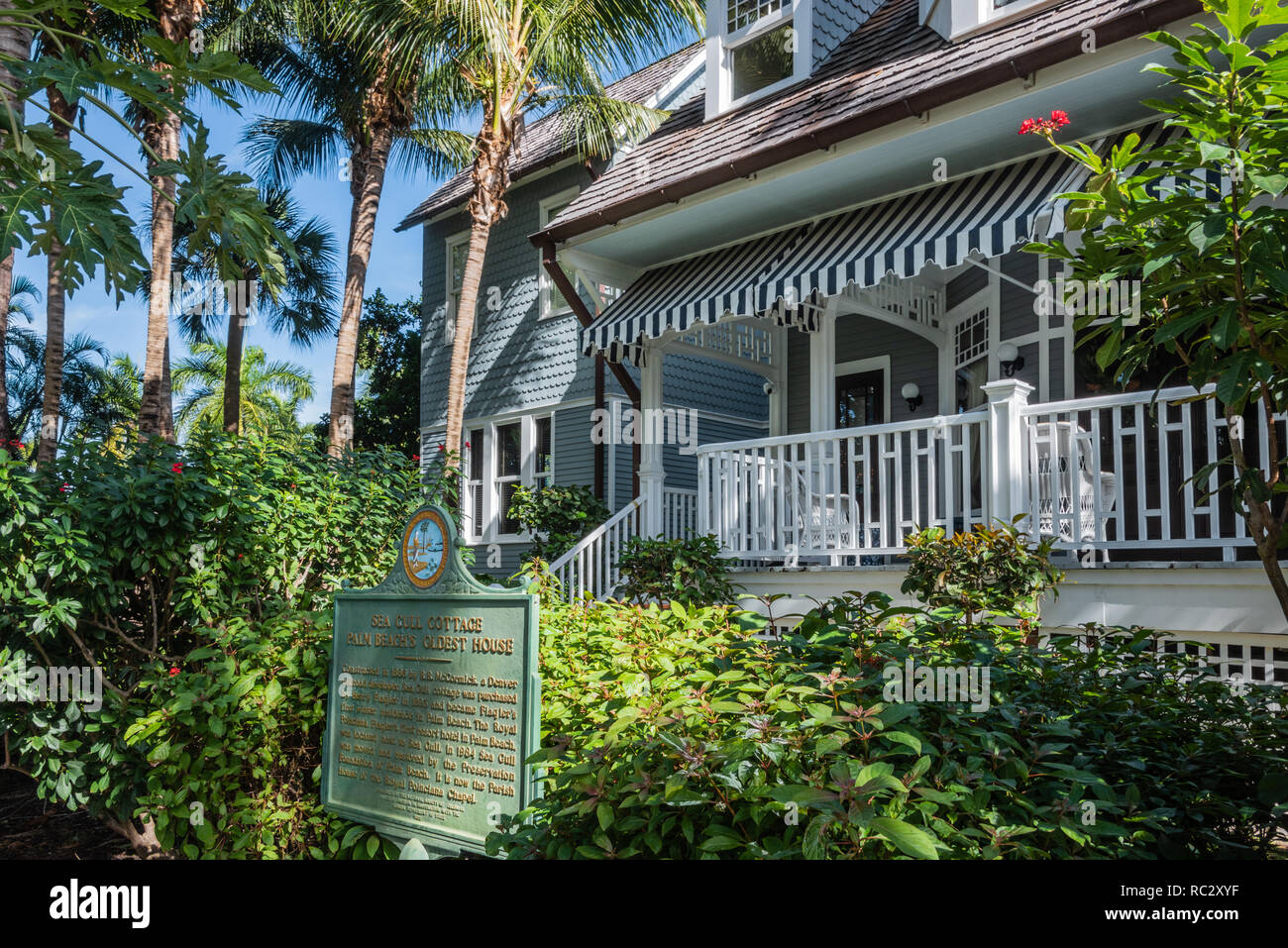 Sea Gull Cottage, the Queen Anne shingle-style house in Palm Beach where Henry Morrison Flagler lived before his opulent Whitehall was completed.  USA - Stock Image