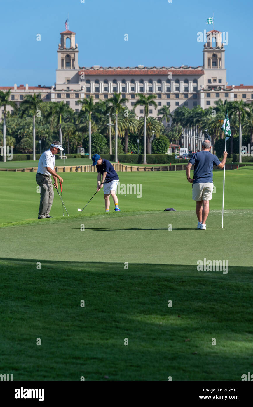 Golf lessons at The Breakers resort in Palm Beach, Florida. (USA) - Stock Image