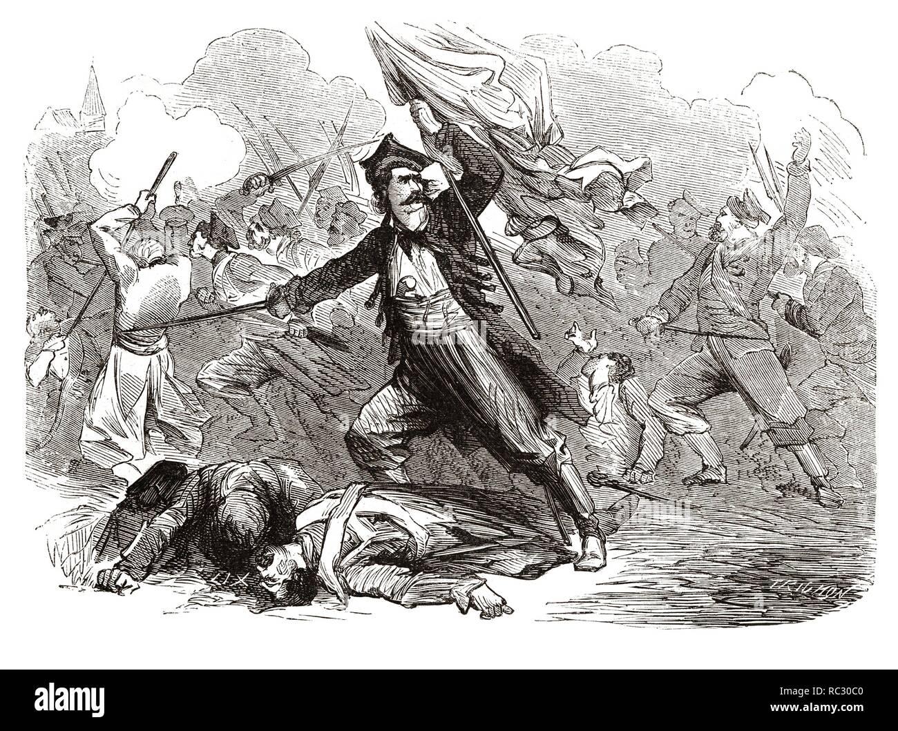 Tadeusz Kosciuszko (1746-1817). Patriota polaco, jefe de la resistencia ante Rusia, Prusia y Austrohungria. Grabado de 1866. - Stock Image