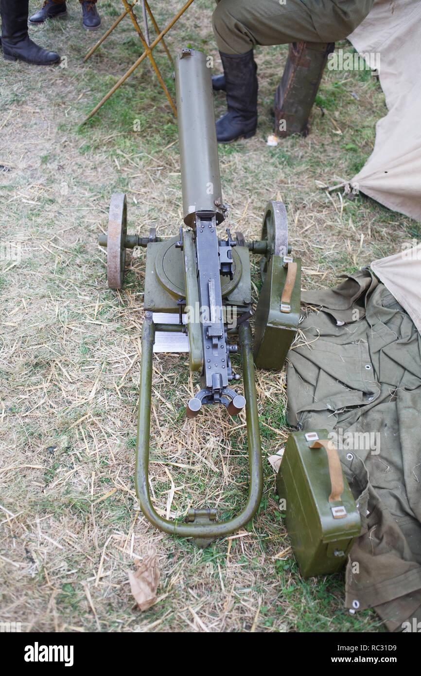 WWI Maxim machine gun with ammunition - Stock Image