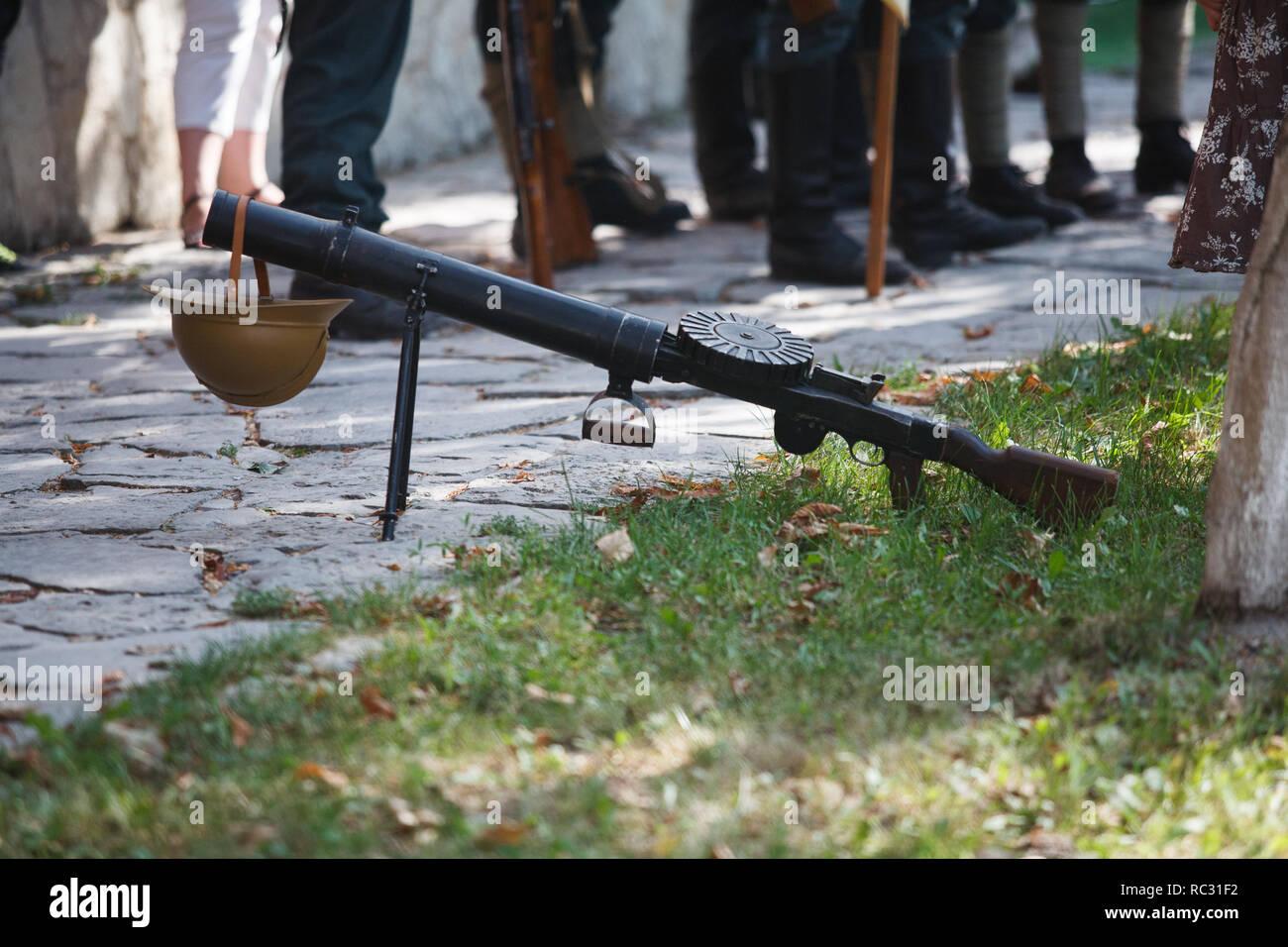 First World War-era Lewis automatic light machine gun - Stock Image